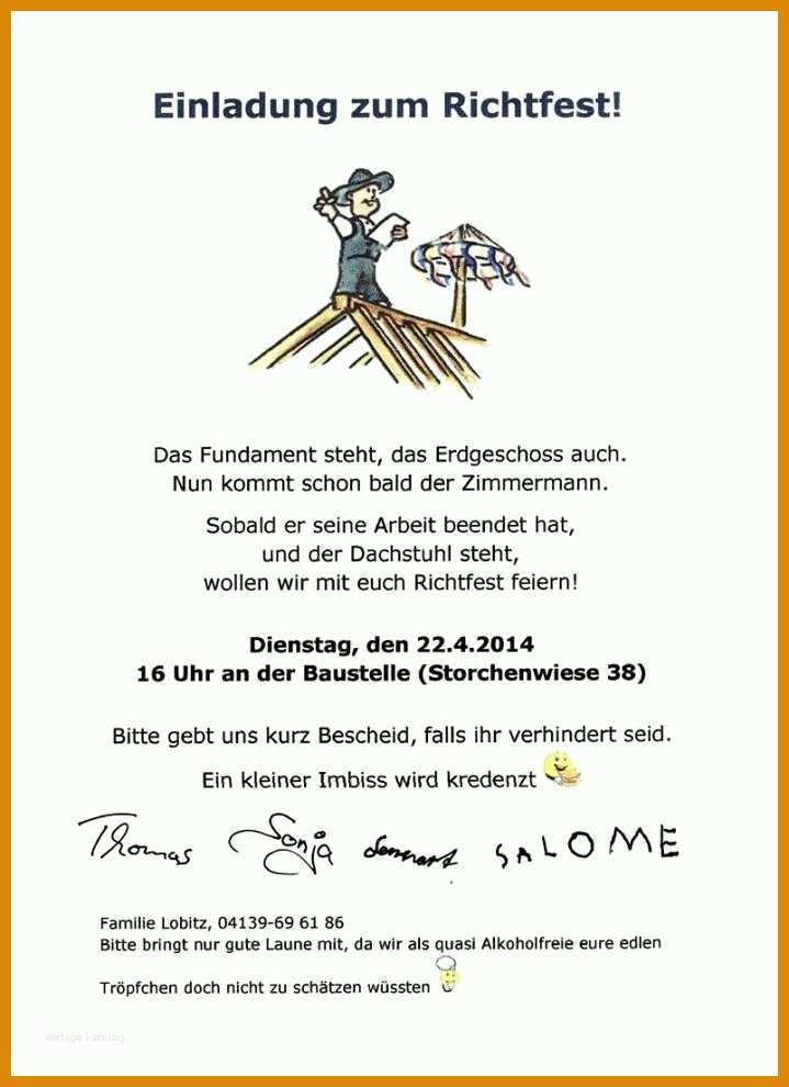 Faszinieren Einladung Richtfest Vorlage 719x990