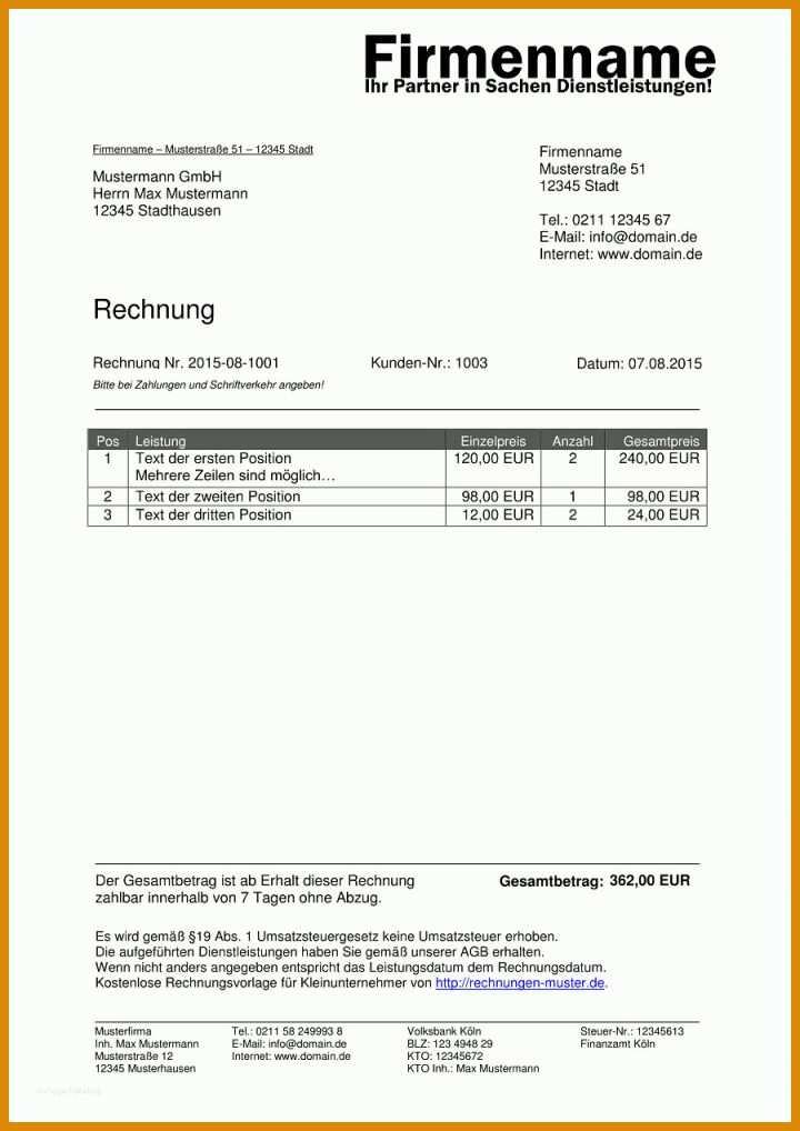 Limitierte Auflage Vorlage Rechnung Ohne Umsatzsteuer