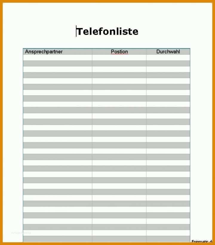 Telefonliste Vorlage Excel Kostenlos Muster Vorlage Ch 1