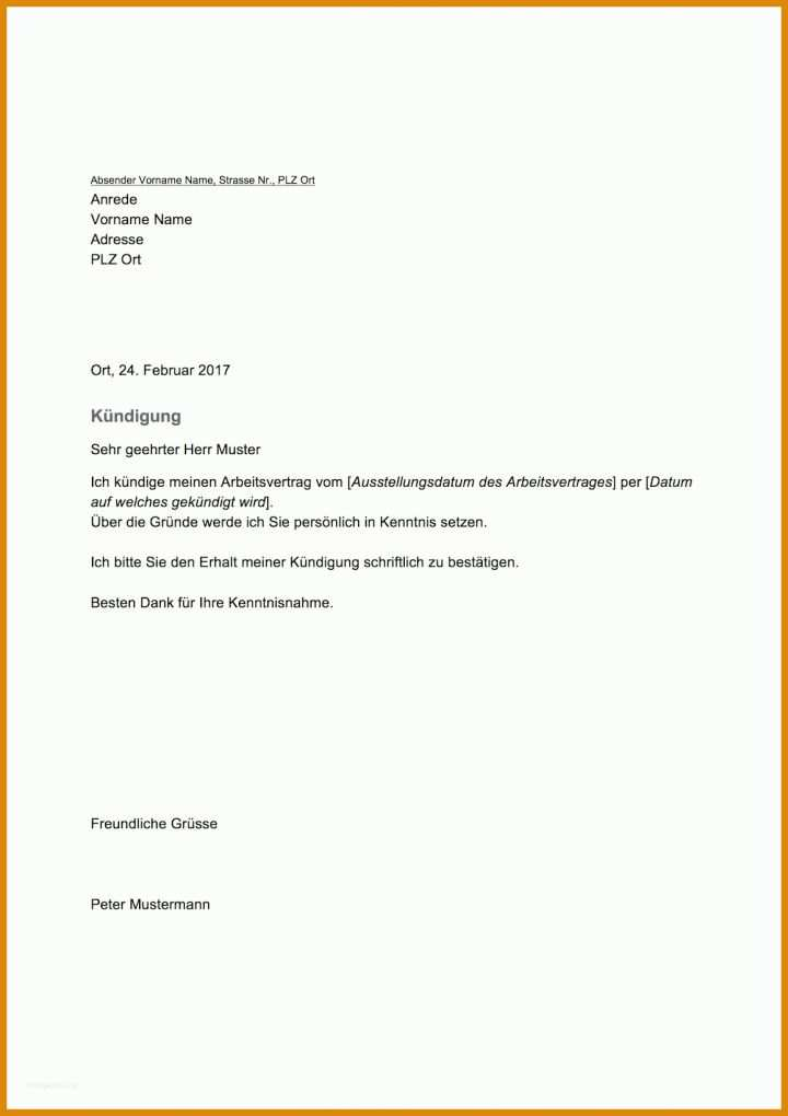 Original Kündigung Vorlage Arbeitnehmer 1156x1637