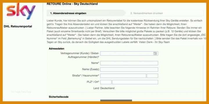 Sky Mail Adresse
